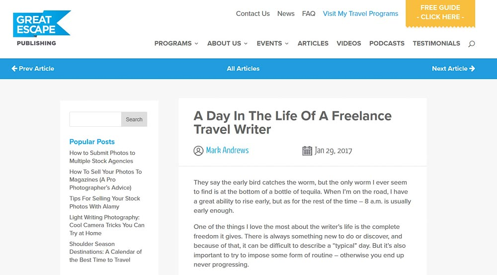 Great Escape Publishing. A day in the life of a freelance travel writer.
