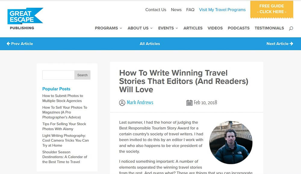 Great Escape Publishing. How to Write Winning Travel Stories that Editors (and Readers) will Love.