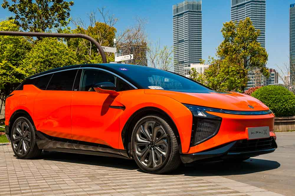 The Human Horizons HiPhi X pictured in Lujiazui, Pudong, Shanghai, China. The car is a new upmarket EV with the Tesla Model X in its sights.